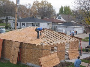 11. Roof framing of a Hip style garage.